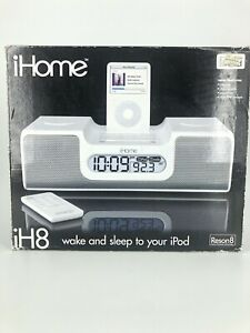 NEW iHome Clock Radio Dock with Dual Alarm for Apple® iPod White IH8SR-Fast Ship