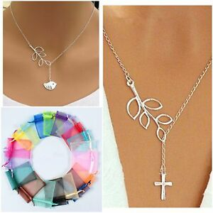 Women Silver Plated Chain Leaf Bird Chain Cross Charm Necklace with Gift Bag