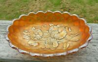 Vintage Imperial Glass Marigold Pickle Dish Pansy Pattern