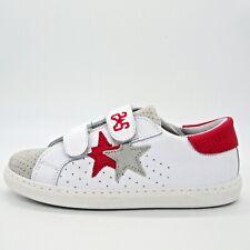 2STAR Scarpe bambino sneaker bimbo in pelle stella rossa a contrasto 2SB1651