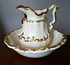 Vintage Decorative Hand Painted Wash Basin Water Pitcher Pearl White & Gold