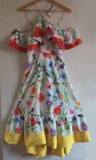 BNWT Strappy Halterneck Ruffle Cold-Shoulder Midi Dress Cultura Floral