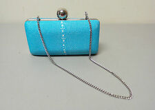 MILLY MADISON MINAUDIERE HANDBAG TURQUOISE SHAGREEN (STINGRAY) LEATHER CLUTCH