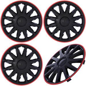 "4PC Set 15"" Ice Black / Red Trim Hub Caps for OEM Steel Wheel - Cover Cap Covers"