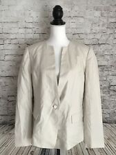Lafayette 148 Women's Size 16 Career Jacket Blazer 100% Linen One Button Natural