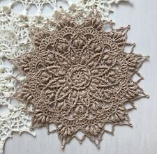 Hand crocheted 3D lace beige doily cotton handmade