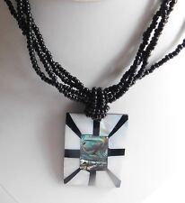 Mother of Pearl Inlaid Abalone Shell Pendant Black Seed Beaded Strand Necklace