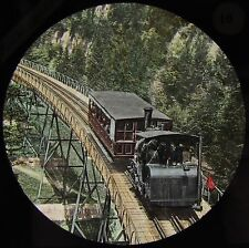 Glass Magic Lantern Slide TRAIN ON SCHNURTOBEL BRIDGE C1885 PHOTO SWITZERLAND
