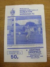 04/02/1989 Nuneaton Borough v Ashtree Highfield  (Creased). Footy Progs/Bobfrank