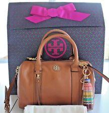NWT TORY BURCH Brody Sm Leather Satchel Bark w/ Tassel Bag Charm & Gift Bag $520