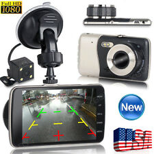 "4"" HD 1080P Car DVR Dual Lens Camera Video Recorder Rearview Dash Cam G-sensor"