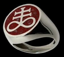Sterling Silver Brimstone Ring Leviathan Cross with crushed coral garnet quartz