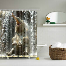 Cute Funny Elephant Bathroom Shower Curtain Waterproof Liner 12pcs C Hooks