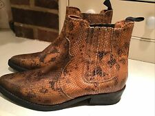 Selected Femme Tan Moc Snakeskin Ankle Boots, Little Wear Sz 6 (39) Vgc