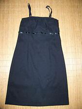 CHALOC schwarzes Etui Kleid 36 Spagettiträger Empire Gürtel Damen Rock Büro #71