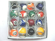 "16pcs Lot Pool Billiard Keyring Ball Keychain Key ring 1"" 25mm USA Seller"