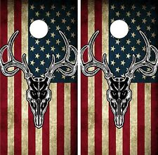 C201 Flag Deer Cornhole Board Wrap LAMINATED Wraps Decals Vinyl Sticker