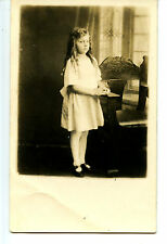 Little Girl-Long Pipe Curl Hair-Quincy-Illinois-RPPC-Vintage Real Photo Postcard