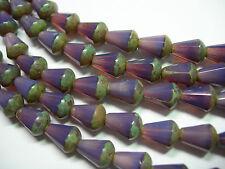 18 Czech Glass Purple Opal Picasso Faceted Teardrop Beads 8x5mm