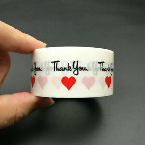 500pcs on a roll Transparent clear Thank You' & Red Heart sealing sticker