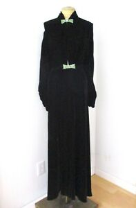 Antique Art Deco 30s black silk velvet evening coat jewel gem clasps robe S