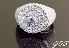 Men's 925 Sterling Silver Lollipop Big Round Stones Ring Simulated Lab Diamonds