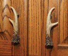 Deer Antler Cabinet Drawer Pull Set of 2 Brown Resin  Lodge Decor W/Screws