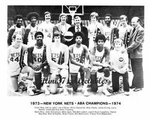 1973-74 NEW YORK NETS JULIUS ERVING DR J ABA BASKETBALL 8X10 TEAM PHOTO