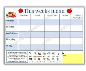 EYFS WEEKLY MENU PLANNER with allergy information childminder teacher resource