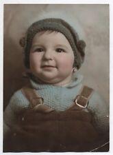 PHOTO ANCIENNE Tirage réhaussé peint colorisé Vers 1940 Portrait Enfant Bonnet
