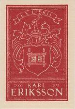 Ex-libris Karl ERIKSSON par Yngve FORSBLOM (1906-1982) - Suède.