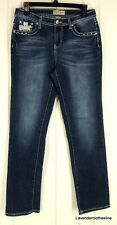 Earl Jean 6 Stretch Denim Rhinestone Jeans Straight Leg Dark Wash Wiskered