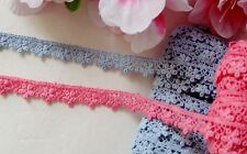 Blue and pink small flower lace trim / ribbon - price for 1 yard