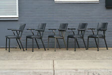 Vintage Mid century 5 x black dining / kitchen chairs heavy metal arm chairs ...