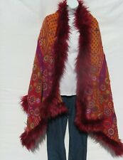 Yak+Sheep Wool Blend|Cape|Wrap|Stitch|Handcrafted|Handloomed|Faux Fur|Mango