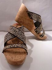 XOXO Women's BENJI Stud High Wedge BLACK Sandal SIZE 9M XO152630