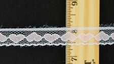 """Flat Lace - White with Pink Hearts & Scalloped Edges- ~5/8"""" w x ~5 yd"""