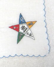 Vintage Hankie Eastern Star Masonic Embroidery 10 1/4 Inches Nice!