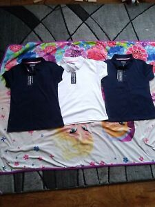 Girls Navy/white Short Sleeve Polo  Shirt Premium Authentic School Uniform 10/12
