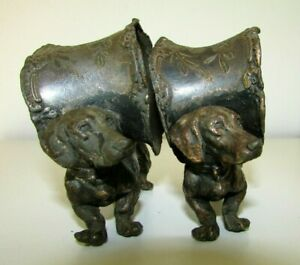 ANTIQUE VICTORIAN DACHSHUND DOG FIGURAL METAL GILT NAPKIN RING PAIR