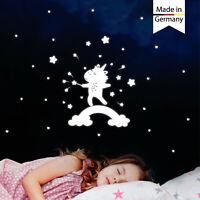 Leuchtaufkleber Kinderzimmer Einhorn Regenbogen Herz Sterne leuchten im Dunklen