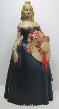 Vtg Southern Belle Cast Iron Doorstop woman holding hat blonde flowers dress