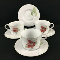 VTG Set of 3 Cups and 4 Saucers by Block Spal Watercolors Poinsettia Christmas