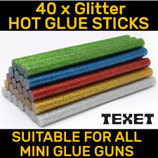 40 x GLITTER COLOUR GLUE STICKS FOR ELECTRIC HOT MELT GLUE GUN 7mm 100mm LONG