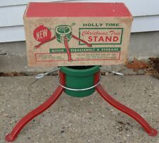 Vintage Holly Time 3 Legged Christmas Tree Stand w/ box