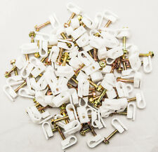 "40 TV Cable Wall Mounting Flex Clips White 1"" Screw RG6 Coax Ethernet Wire"