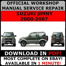 # OFFICIAL WORKSHOP Service Repair MANUAL for SUZUKI JIMNY 2000-2007