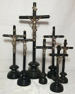 7 x Antique Wood French Altar Standing Cross Crucifix Jesus Christ Corpus