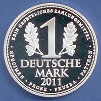Medaille 1 Deutsche Mark 2011 Specimen Probe Prueba Ø 40 mm 25 Gr. B56/13