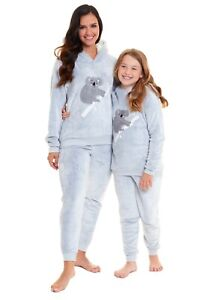 Habigail Ladies Girls Pyjamas PJ's for Women Twosie Pajama Set koala
